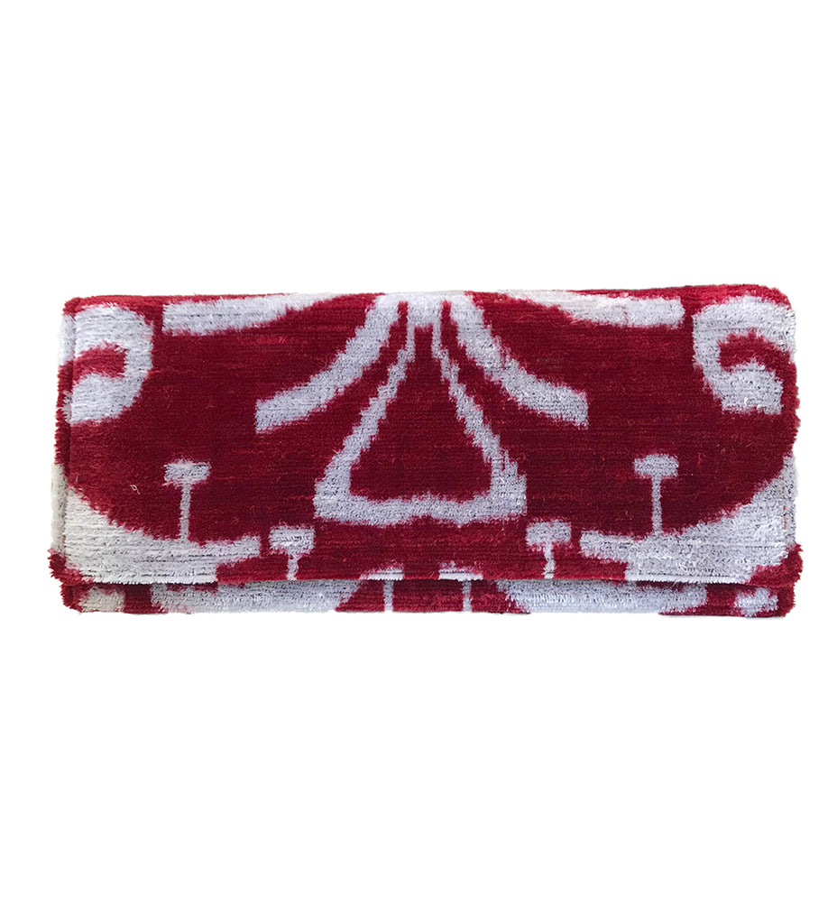 Fold Over Velvet Ikat Clutch: New Scarlet Medallion