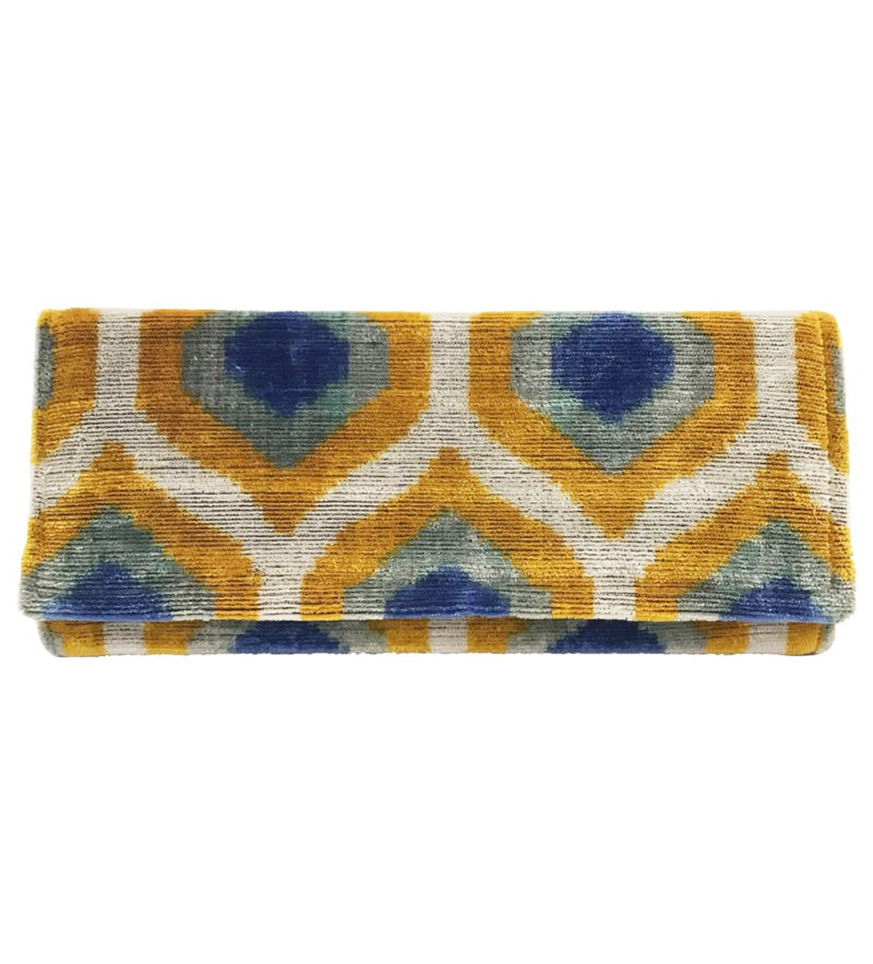 Fold Over Velvet Ikat Clutch: Azure and Gold