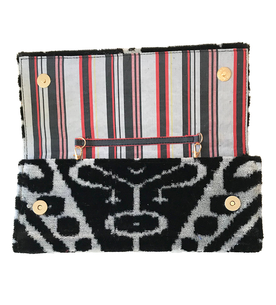 Fold Over Velvet Ikat Clutch: Black Medallion