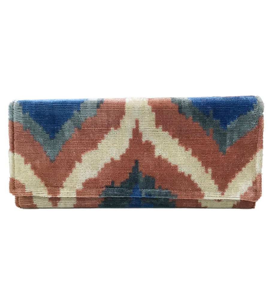 Fold Over Velvet Ikat Clutch: Blush Pink