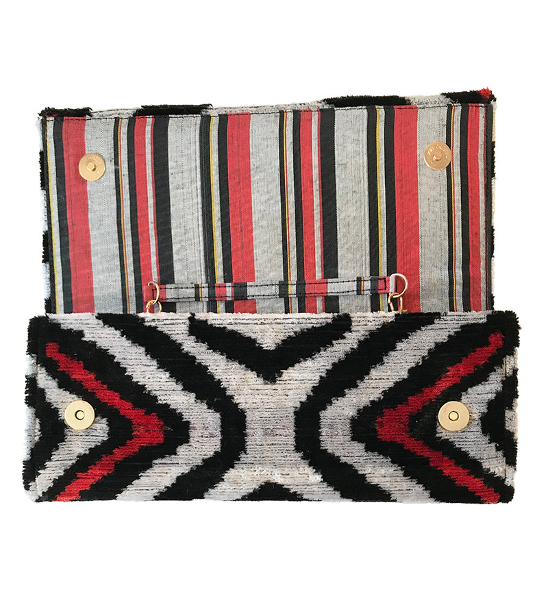 Fold Over Velvet Ikat Clutch: Chevron