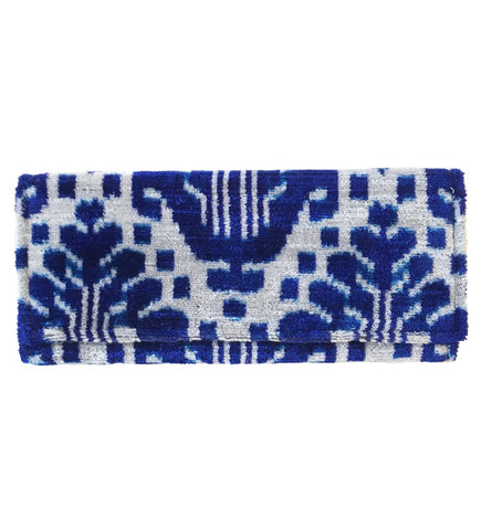 Embroidered Geometric Clutch: White with Blue