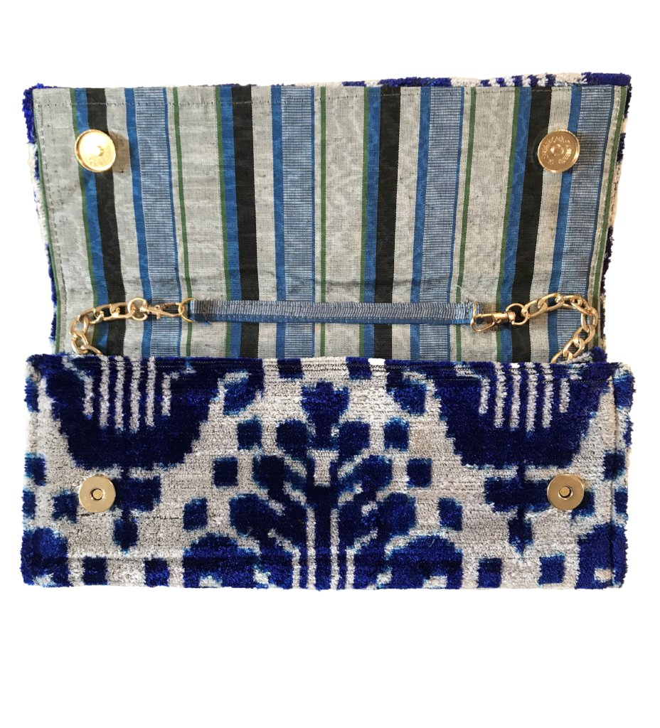 Fold Over Velvet Ikat Clutch: Cobalt Medallion