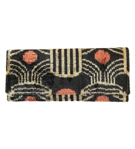 Fold Over Velvet Ikat Clutch: Coral Dot