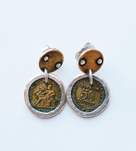 Small Bezeled Coin Earrings