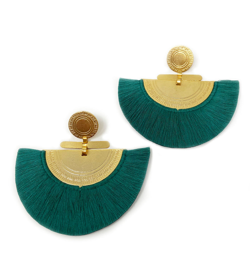 Fringe Crescent Earring: Emerald