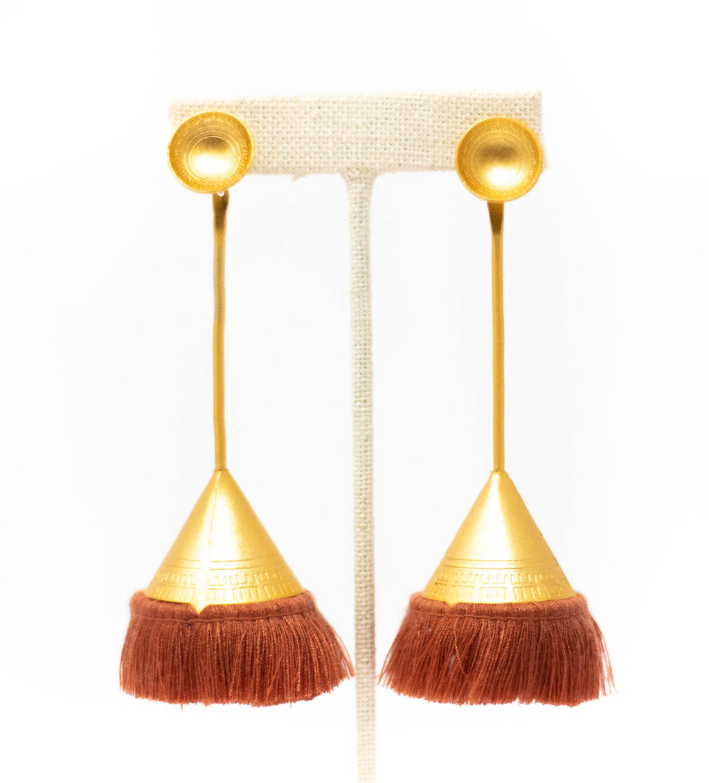 Fringe Cone Drop Earring: Terracotta
