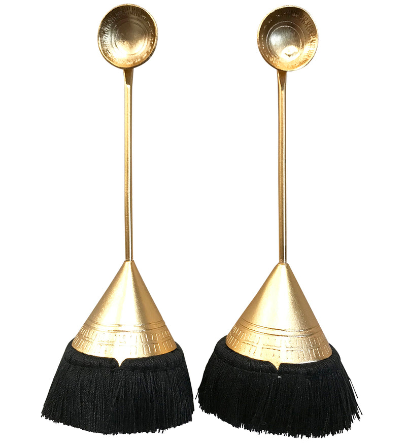 Fringe Cone Drop Earring: Black