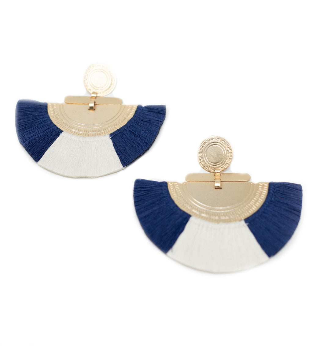 Fringe Crescent Earring: Navy and White