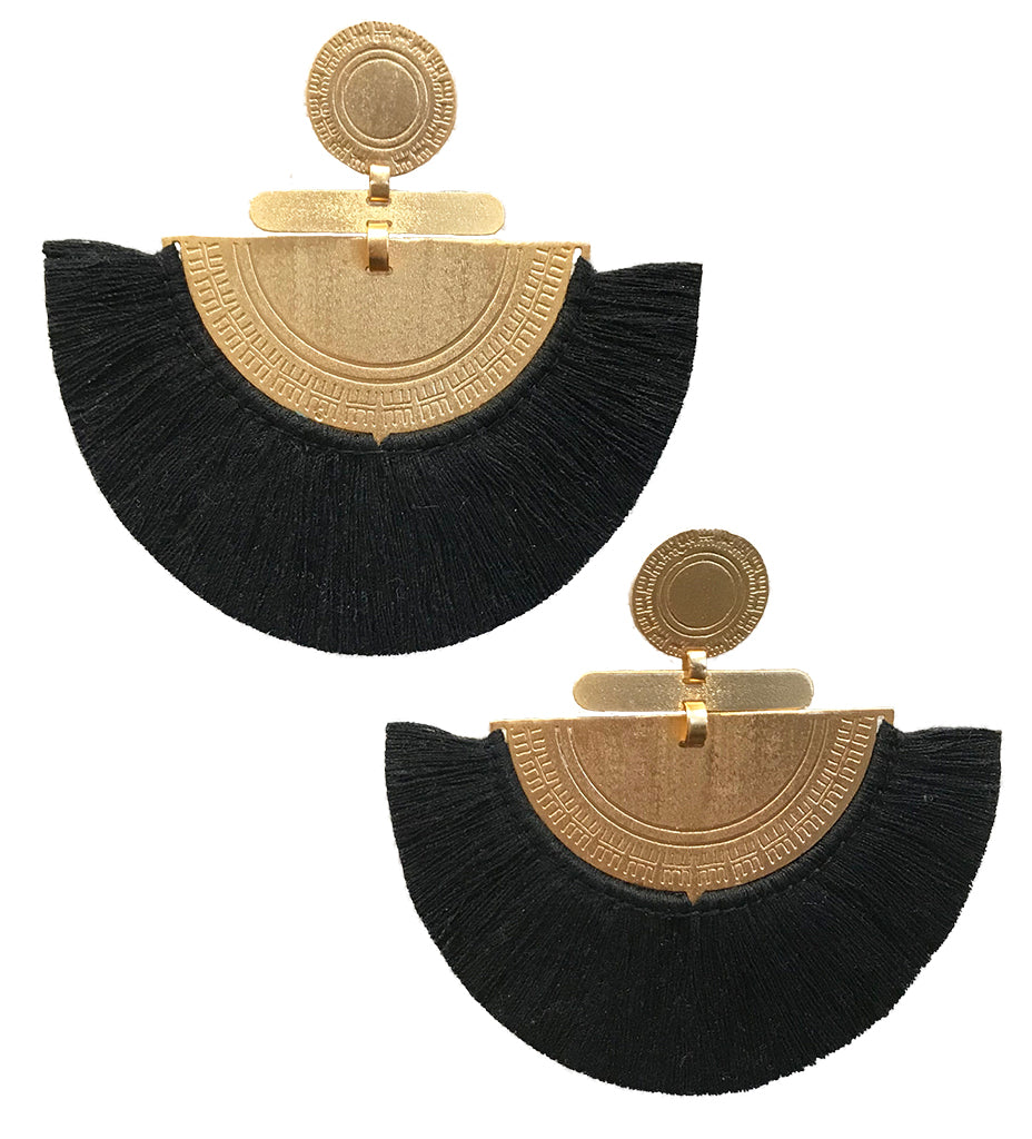 Fringe Crescent Earring: Black