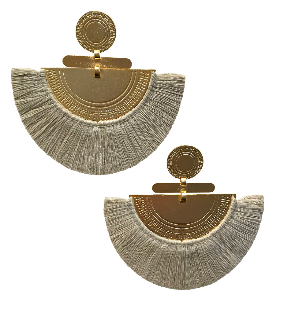Fringe Crescent Earring: Grey