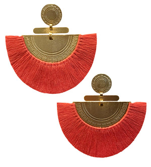 Fringe Crescent Earring: Melon
