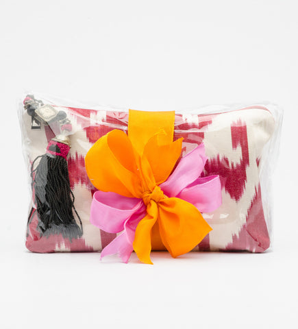 Tassel Ikat Pouch with Mbiri Lotion and Shower Gel