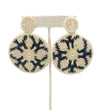 Large Fringe Drop Earring: Navy