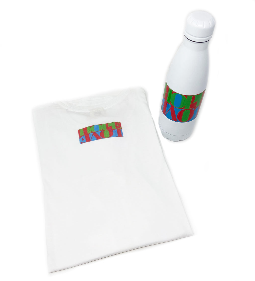 Colorful Water Bottle and Matching Tee Shirt