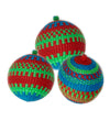 Woven Ornament: Blue, Green, Red Set of Three