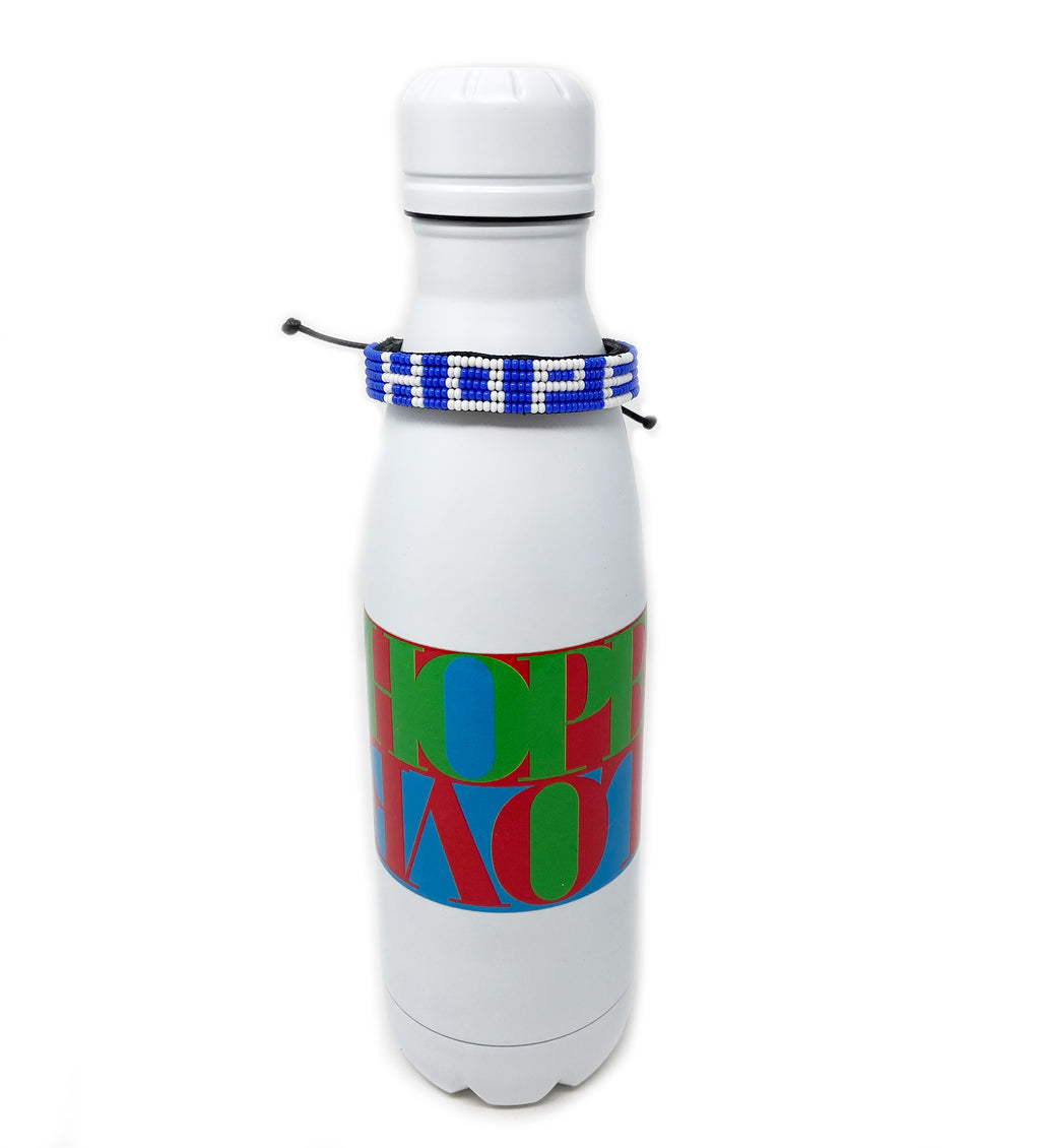 Colorful Water Bottle and Hope Beaded Bracelet Gift Set
