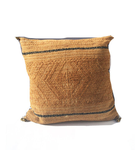 Indigo and Gold Chinese Minority Pillow