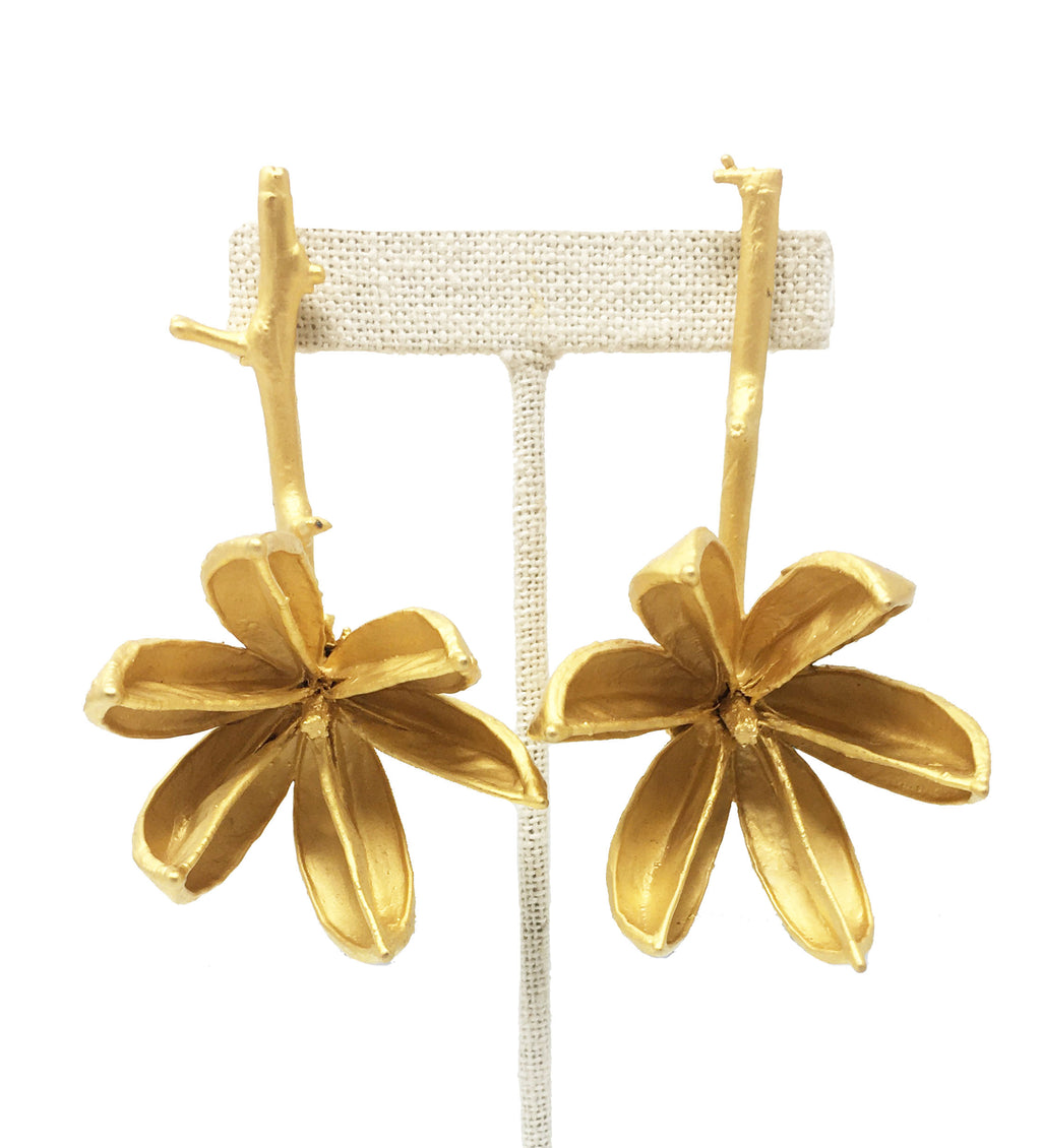 Gold Flower Drop Earring