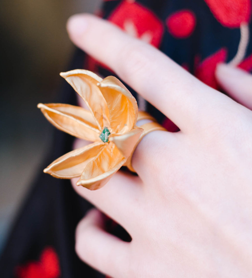Gold Flower Ring with Stone