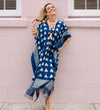 Ikat Caftan with Tassels: Navy and Grey