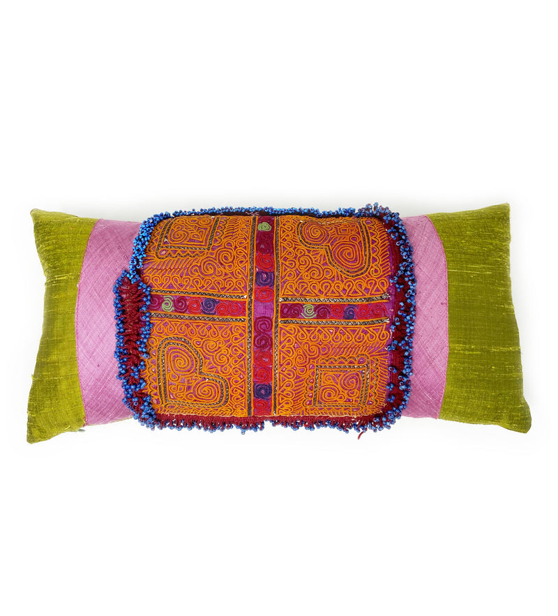 Green Afghan Patch Pillow