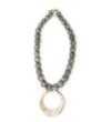 Grey Ball Necklace with Horn Pendant