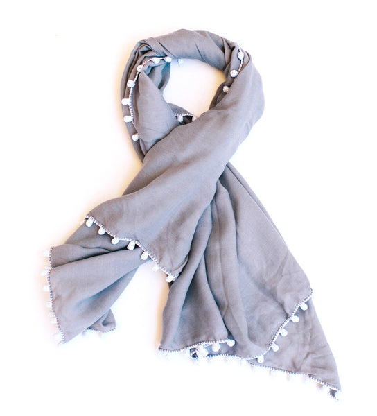Wafae's Button Scarf: Grey with White