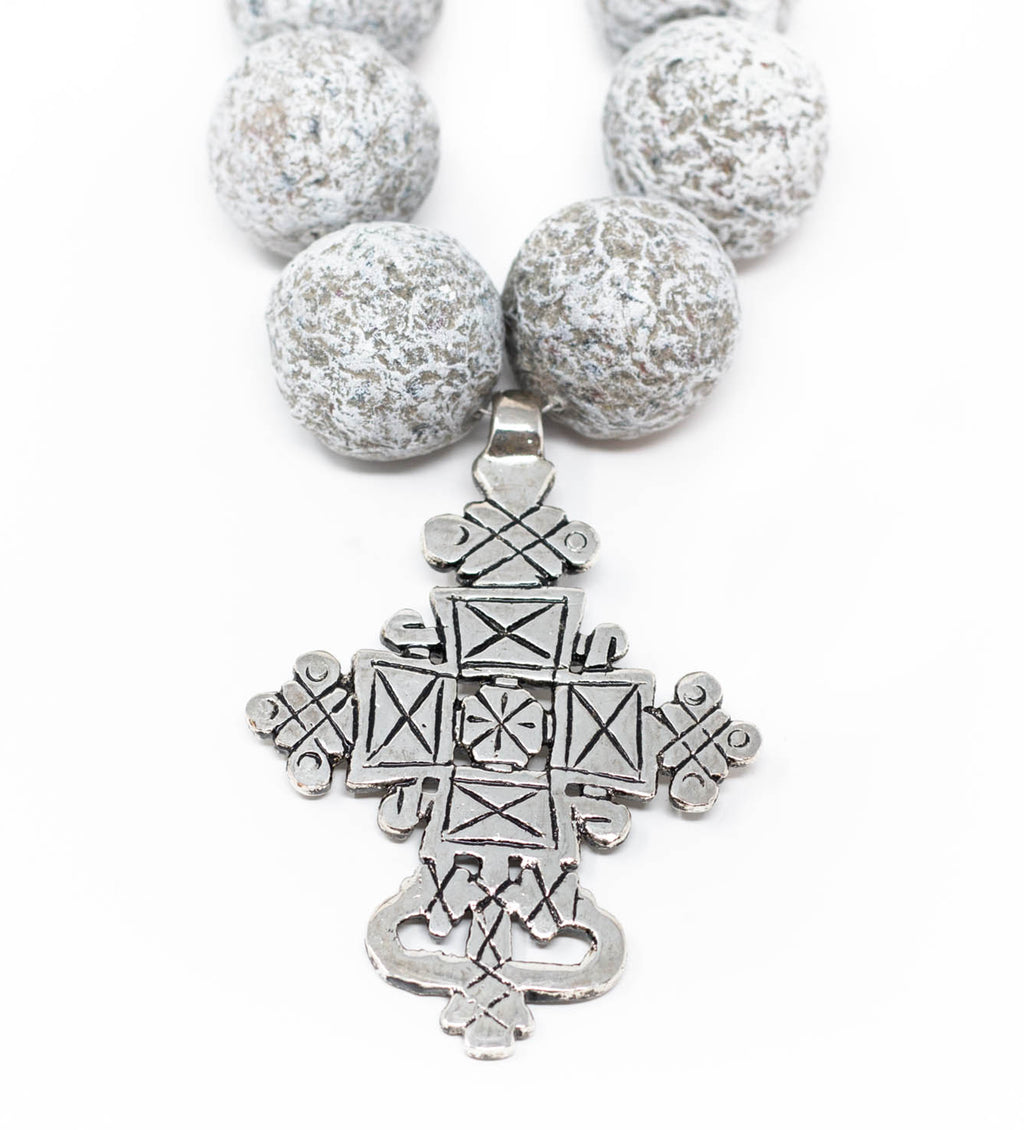 Grey Long Ball Necklace with Ethiopian Cross