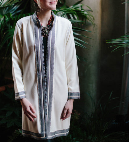 Women's Moroccan Jacket: Grey on White