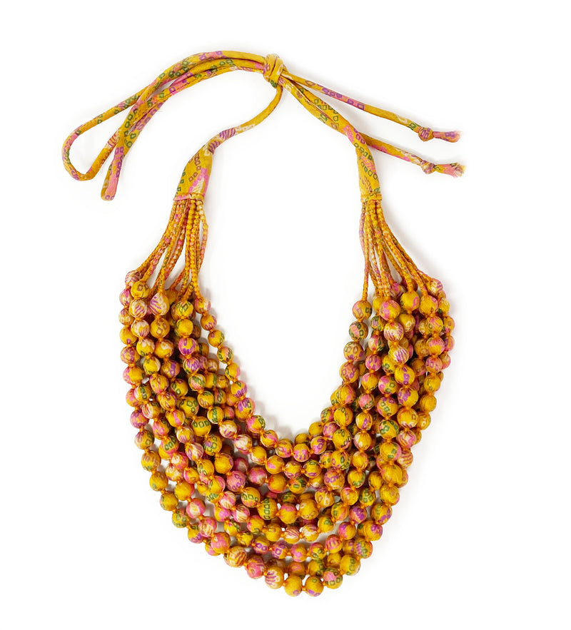 Sari Beaded Necklace: Large Gold Twelve Strand