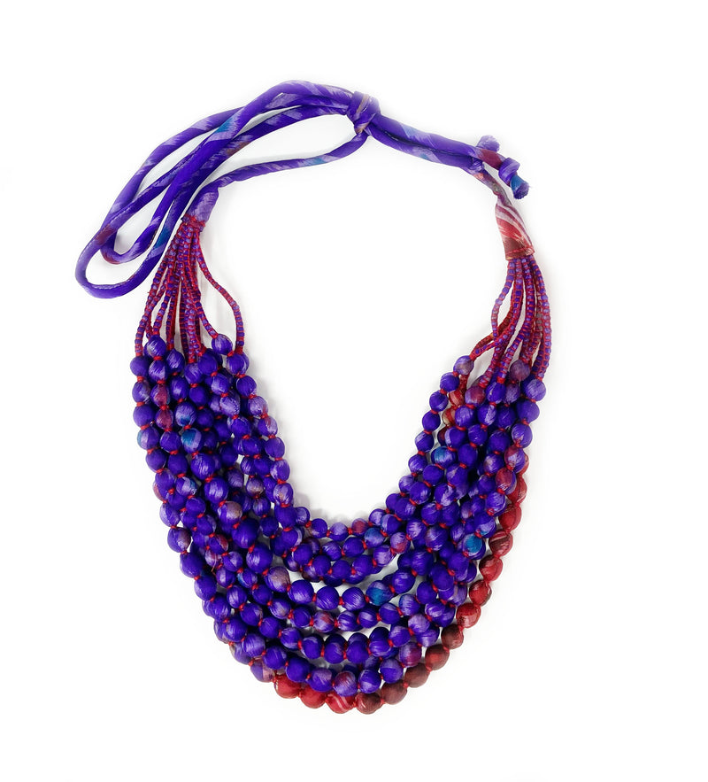 Sari Beaded Necklace: Large Purple and Red Twelve Strand