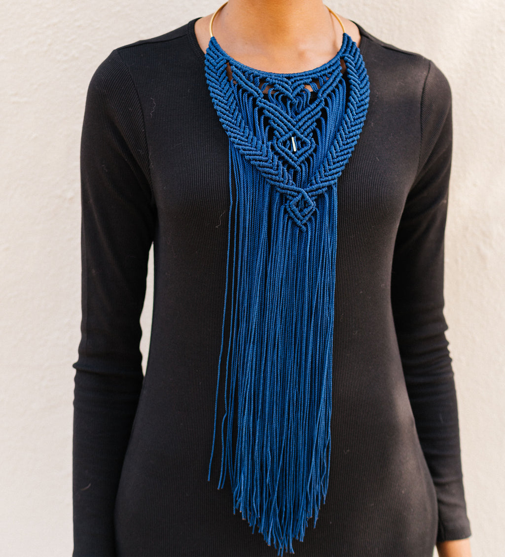 Hand-Crocheted Collar Necklace: Navy