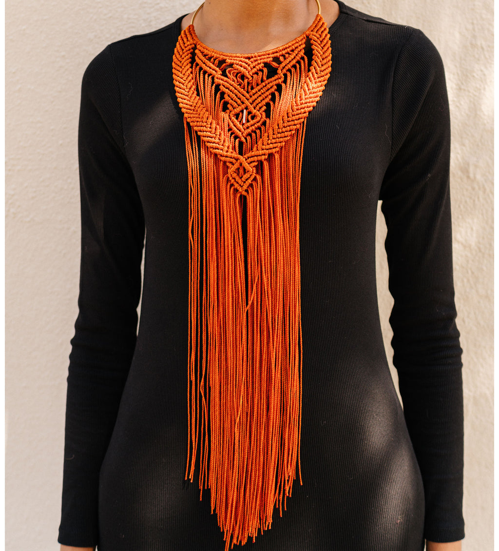 Hand-Crocheted Collar Necklace: Terracotta