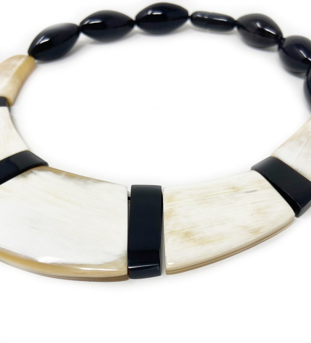 Hand Carved Black and White Horn Necklace
