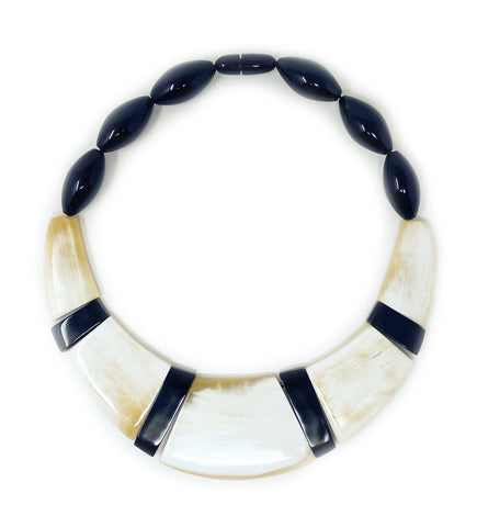 Hand Carved Tubular Collar Necklace