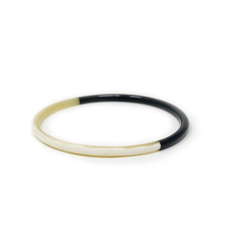 Hand Carved Lacquered Horn Bangle: Black