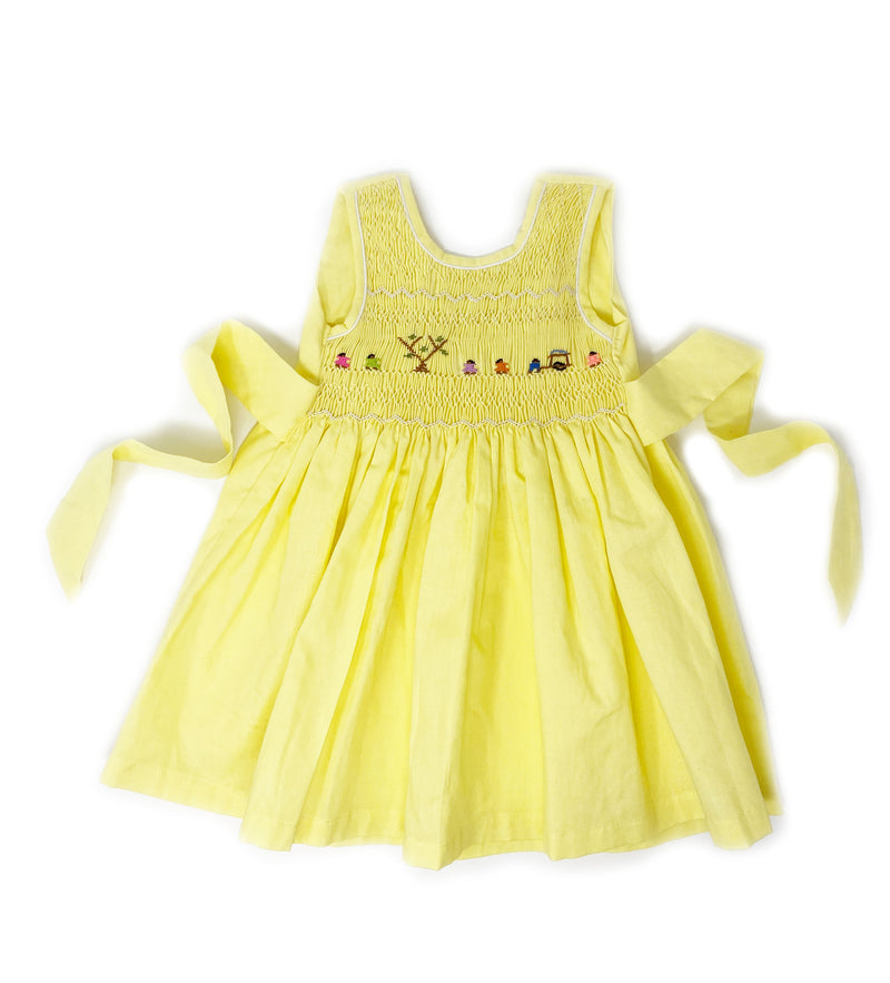 Hand Smocked Dress: Daffodil
