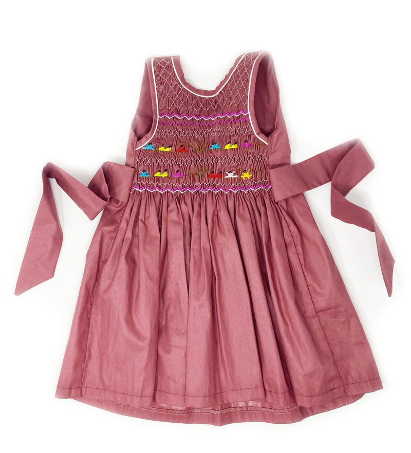 Hand Smocked Dress: Mulberry