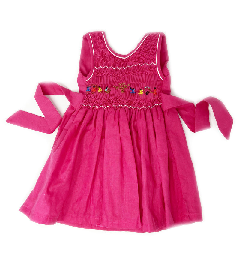 Hand Smocked Dress: Watermelon