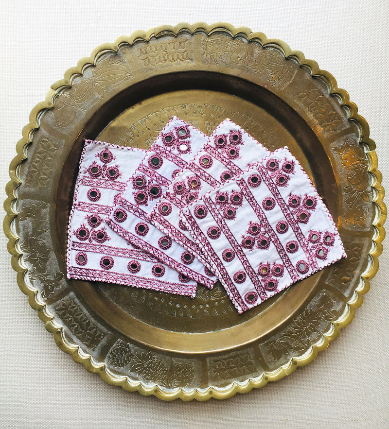 Hand Embroidered Cocktail Napkin: Dusty Rose