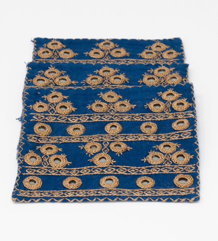 Woven Sun Beach Towel: Natural with Blue