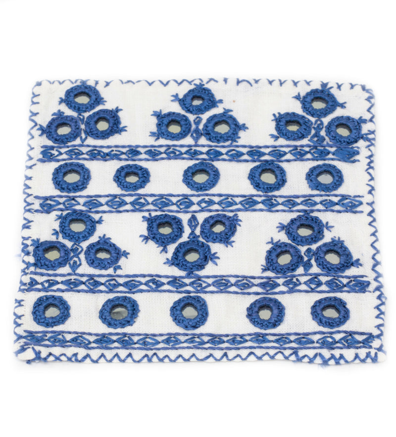 Hand Embroidered Cocktail Napkins: Blue and White