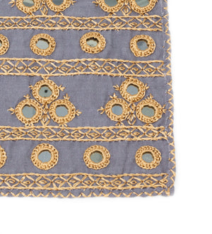 Hand Embroidered Cocktail Napkins: Grey and Gold Mirrors