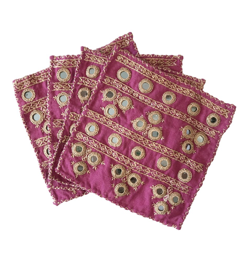 Hand Embroidered Napkins: Mirror Design Pink