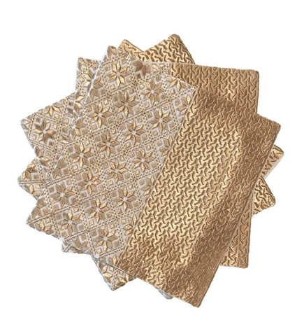 Hand Embroidered Napkins: Mirror Design White and Brown
