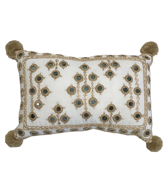 Hand Embroidered Mini Mirror Pillow: White with Gold