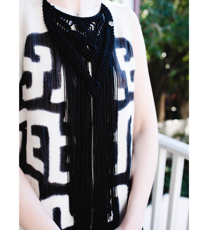 Hand-Crocheted Collar Necklace: Black