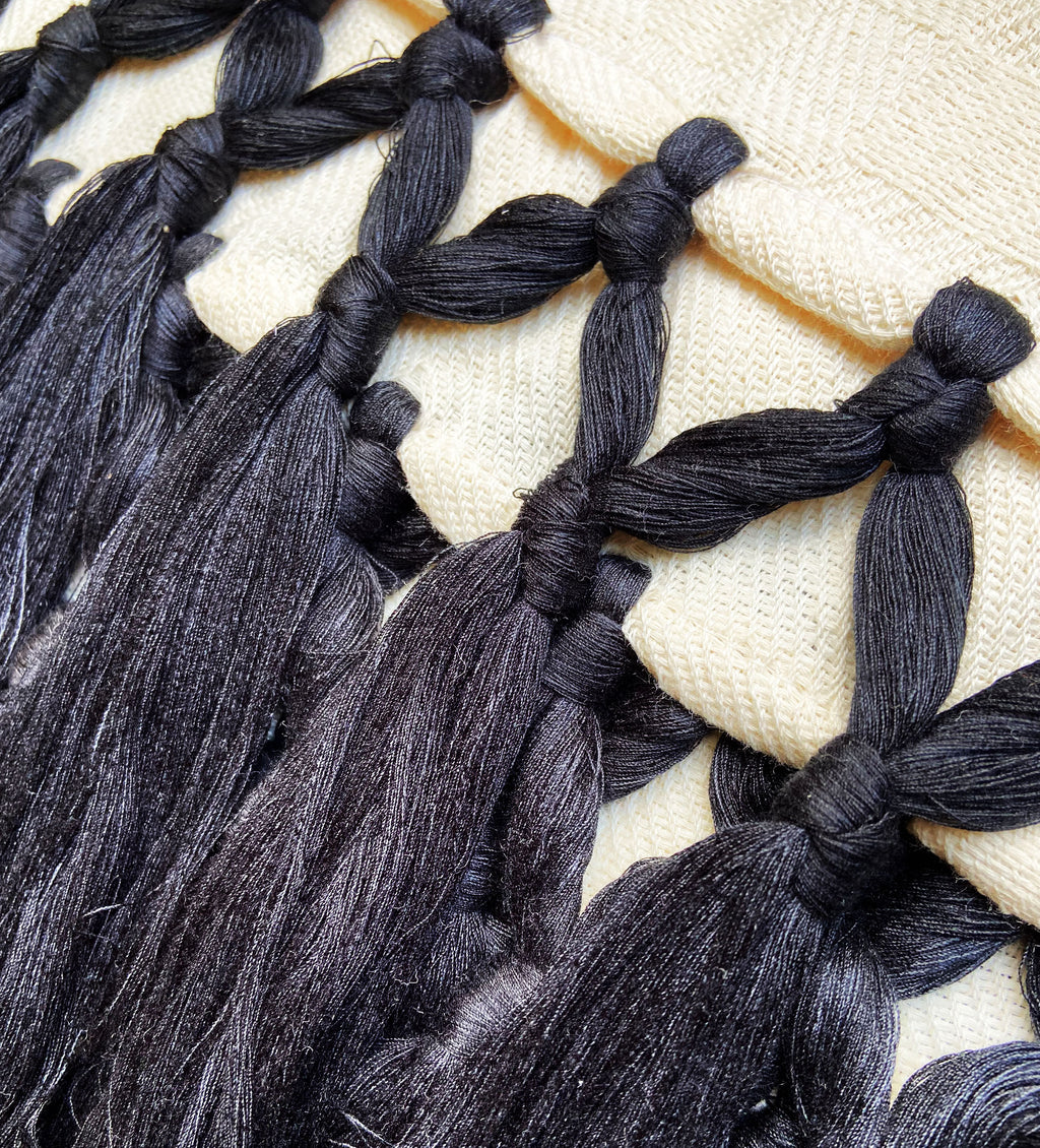 Handwoven Throw: Long Black Tassels