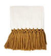 Handwoven Throw: Long Gold Tassels